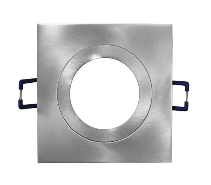 Φωτιστικό σπότ χωνευτό αλουμινίου βούρτσας τετράγωνο μάτ σταθερό για λάμπες gu10 & mr16