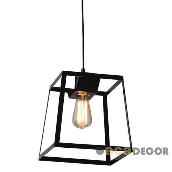 Διακοσμητικό φωτιστικό κρεμαστό μονόφωτο μαύρο τετράγωνο με διάφανο καλώδιο    ντουί Ε27 σειρά vintage ... 0b9c6d83a12