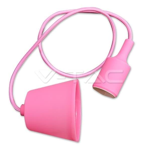 Φωτιστικό κρεμαστό v-tac μονόφωτο σιλικόνης ρόζ με υφασμάτινο καλώδιο & πλαστική βάση με ντουί Ε27 Ø 45mm ΚΩΔ : 3479