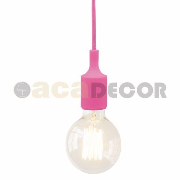 MrLed Φωτιστικό κρεμαστό μονόφωτο σιλικόνης φούξ-ρόζ με υφασμάτινο καλώδιο    πλαστική βάση με ντουί Ε27 701cac9f3d0