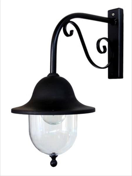 Φωτιστικό απλίκα τοίχου Heronia Lighting μονόφωτη μαύρη πλαστική στεγανή ip23 με ντουί Ε27 sku: 32-0039