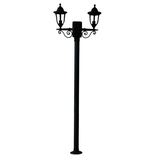 Φωτιστικό κολώνα δίφωτη 2230mm μεταλλική με πλαστικά φωτιστικά Heronia Lighting μαύρη στεγανή ip23 με ντουί Ε27 Κωδικός: 23-0006