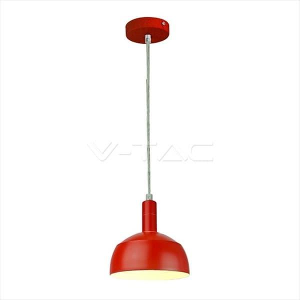 Φωτιστικό v-tac κρεμαστό μονόφωτο πλαστικό & αλουμίνιο (κόκκινο σώμα) με ντουί Ε27 Κωδικός : 3924