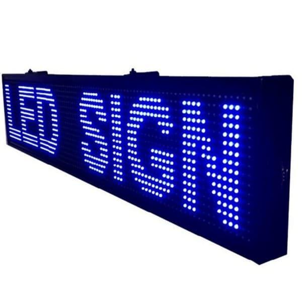 Ηλεκτρονική επιγραφή LED διπλής όψης 64 x 16 cm αδιάβροχη Ελληνικής κατασκεύης μπλέ χρώμα Κωδικος : 064016DU-blue