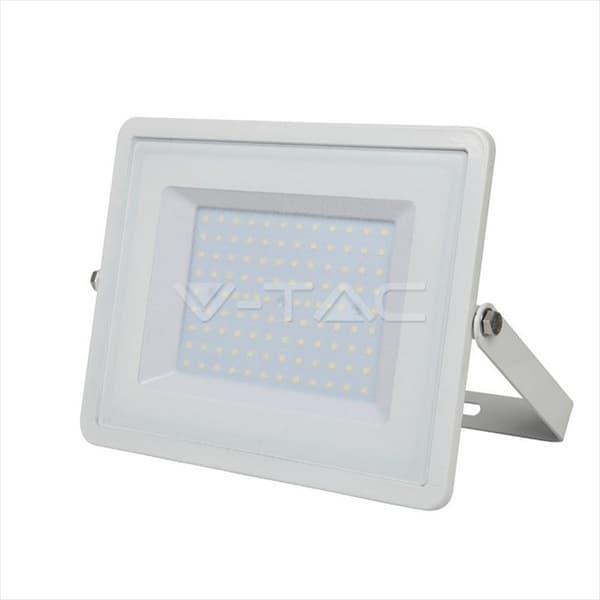 Προβολέας led v-tac με samsung chip 100w 230v λευκό σώμα φυσικό λευκό 4000Κ 8000lm Κωδικός: 416