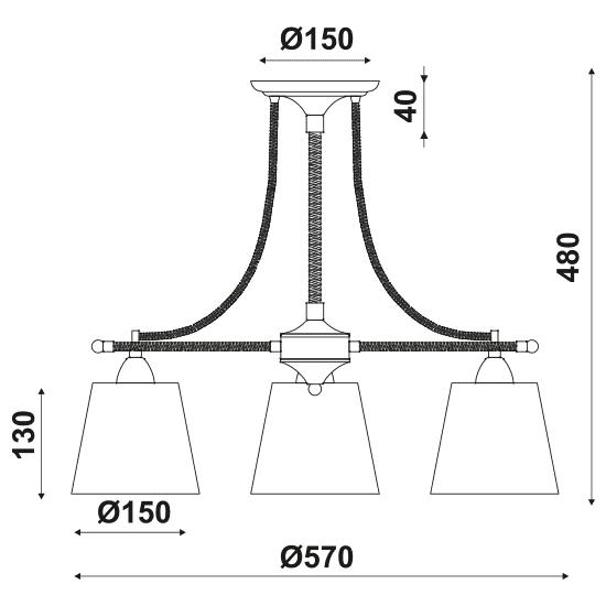 Φωτιστικό οροφής τρίφωτο μαύρο-μπέζ με σχοινί aca-decor 2018 570mm με ντουί ε14 Κωδικός : EG165073C