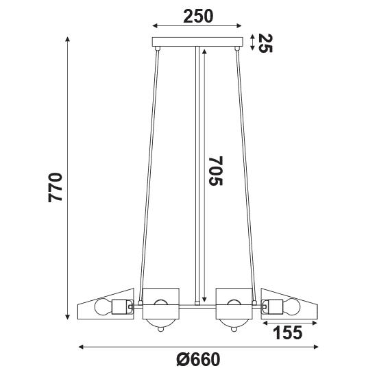Φωτιστικό οροφής εξάφωτο μαύρο-χαλκός aca-decor 2018 660mm με ντουί ε27 Κωδικός : EG166126PBC