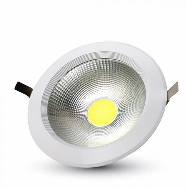LED φωτιστικό οροφής COB 30W χωνευτό High-Lumen στρογγυλό 3000K θερμό λευκό φως Κωδ: 1276