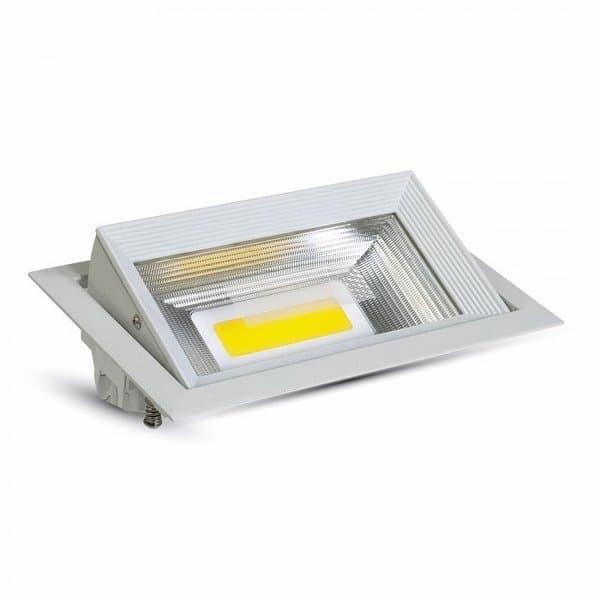 LED φωτιστικό οροφής COB 30W χωνευτό High-Lumen ορθογώνιο θερμό λευκό 3000K Κωδικός : 1306