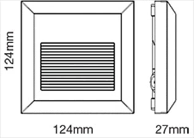 Επιτοίχιο φωτιστικό LED σκάλας 2W/230v τετράγωνο γκρί 4000K φυσικό λευκό στεγανό ΙΡ65 Κωδικός: 1324