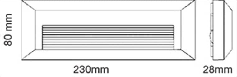 Led απλίκα μαύρη ορθογώνια οριζόντια με σκίαστρο slim πλαστική 3watt 110lumen 4000k φυσικό λευκό φως στεγανή ΙΡ65 Κωδικός: 1328
