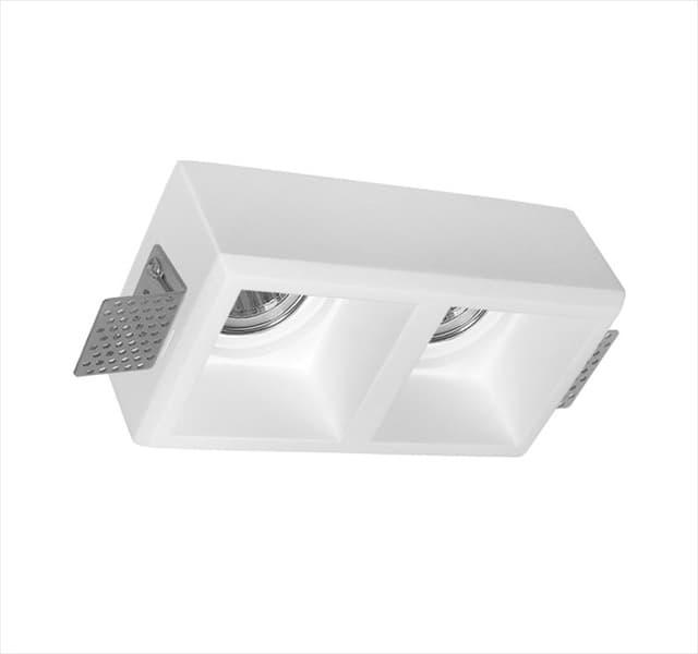 Χωνευτό φωτιστικό adeleq Spot γύψινο για GU10 διπλό τετράγωνο σε χρώμα λευκό Υ50mm Κωδικός: 21-11011