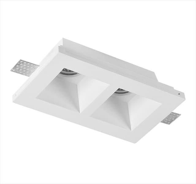 Χωνευτό φωτιστικό adeleq Spot γύψινο για GU10 διπλό τετράγωνο σε χρώμα λευκό Υ60mm Κωδικός: 21-11012
