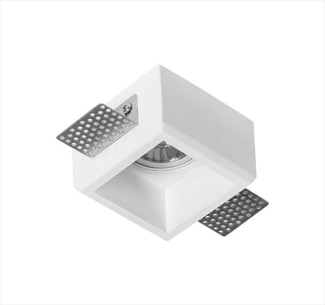 Χωνευτό φωτιστικό adeleq Spot γύψινο για GU10 τετράγωνο σε χρώμα λευκό 50mm Κωδικός: 21-11008