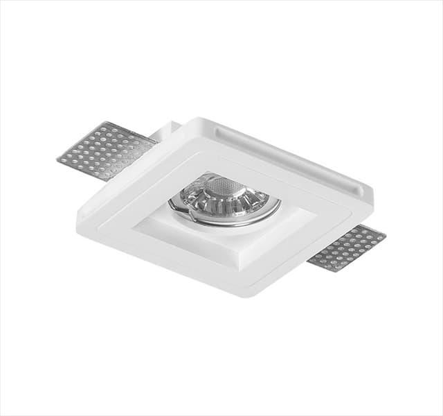 Χωνευτό φωτιστικό adeleq Spot γύψινο για GU10 τετράγωνο σε χρώμα λευκό 25mm Κωδικός: 21-11007