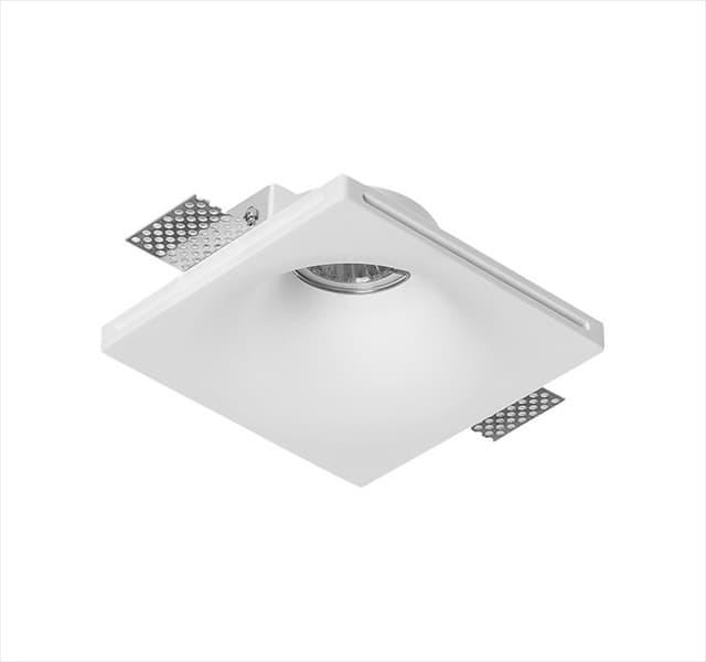 Χωνευτό φωτιστικό adeleq Spot γύψινο για GU10 τετράγωνο σε χρώμα λευκό 45mm Κωδικός: 21-11005
