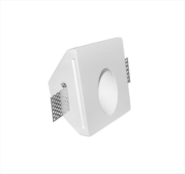 Χωνευτό φωτιστικό adeleq Spot γύψινο για GU10 τετράγωνο σε χρώμα λευκό Υ45mm Κωδικός: 21-11020