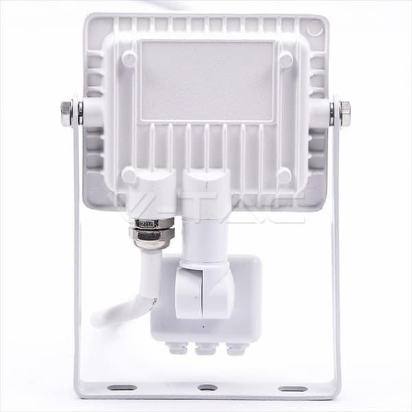Προβολέας LED Samsung chip 10W (φυσικό λευκό 4000K) Λευκό σώμα με ανιχνευτή Κωδικός: 434