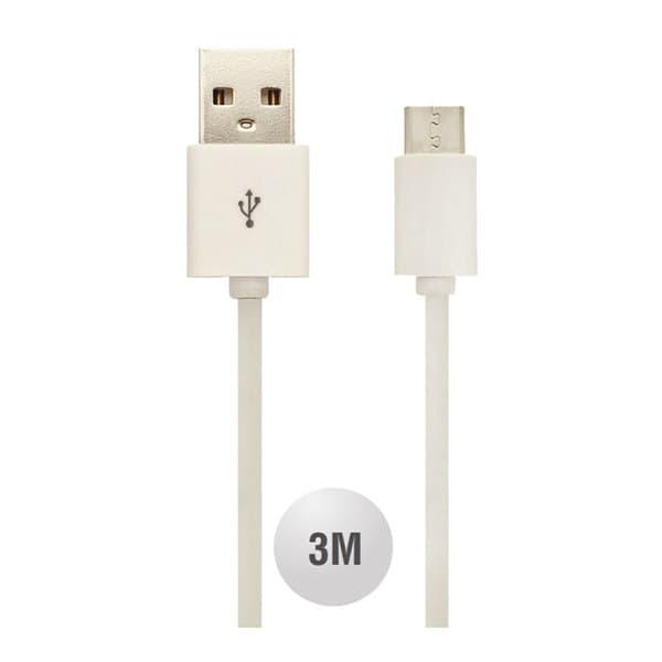 Καλώδιο USB Type C λευκό 3m Κωδικός : 8457