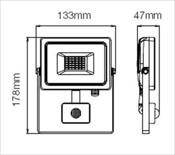 Προβολέας LED Samsung chip 10W (θερμό λευκό 3000K) Λευκό σώμα με ανιχνευτή Κωδικός: 433