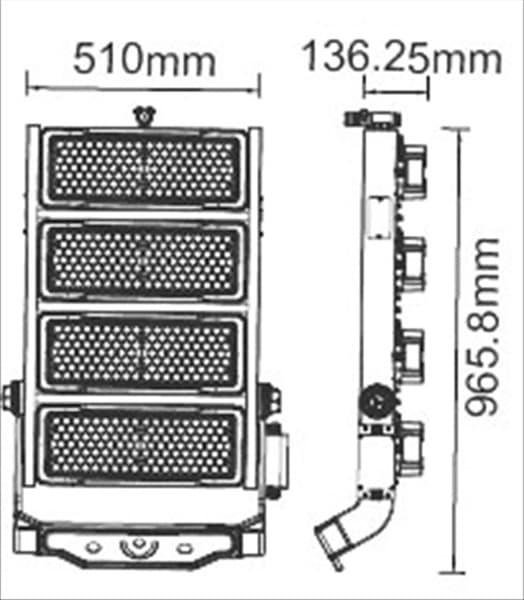 Προβολέας LED Samsung chip & Meanwell driver 1000W Φυσικό λευκό 4000K Μαύρο σώμα Dimmable 120° Κωδ: 498