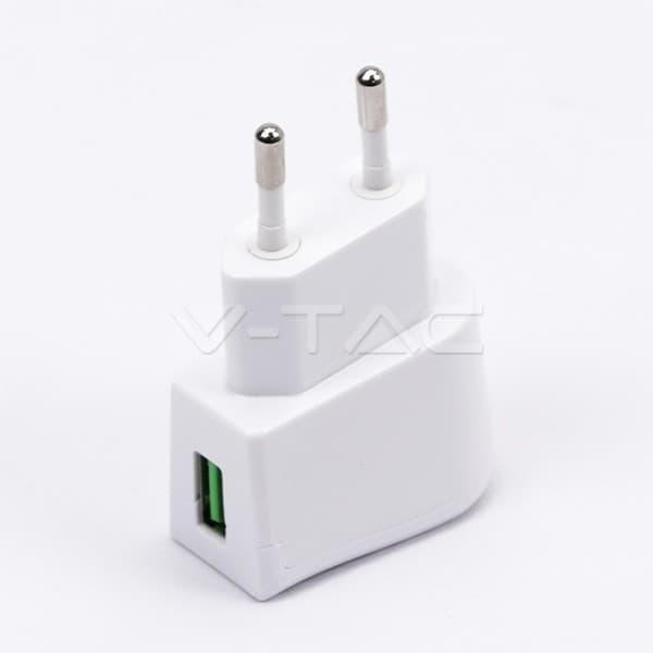 Αντάπτορας v-tac ταξιδίου USB λευκός Κωδικός: 8791