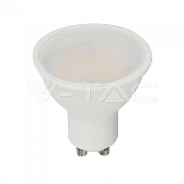 Λάμπα LED Spot GU10 SMD 3.5W RGB + ψυχρό λευκό 6400K (RF CONTROL), Λευκό σώμα, 110° Μοιρών, Ντιμάρεται Κωδικός: 2780