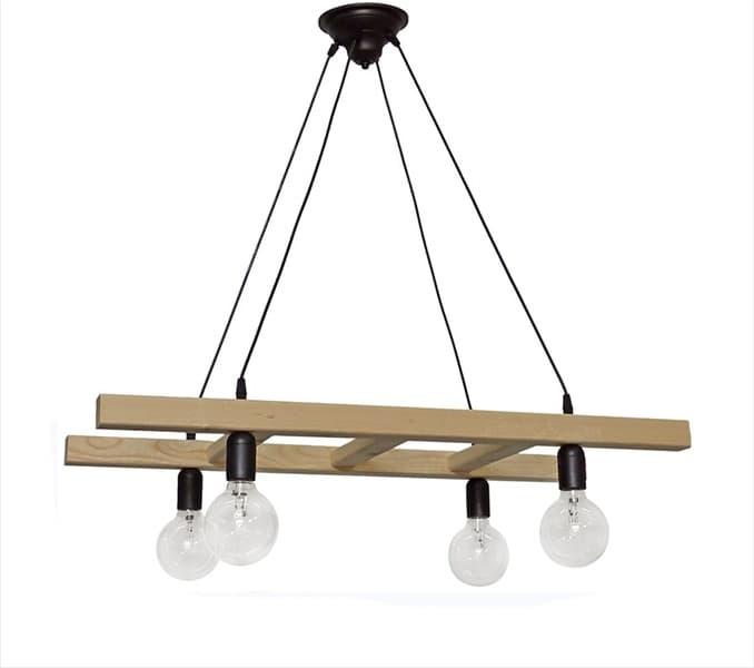Φωτιστικό κρεμαστό Heronia Lighting τετράφωτο ξύλινο skala/4 wood cable Κωδικός : 31-1047