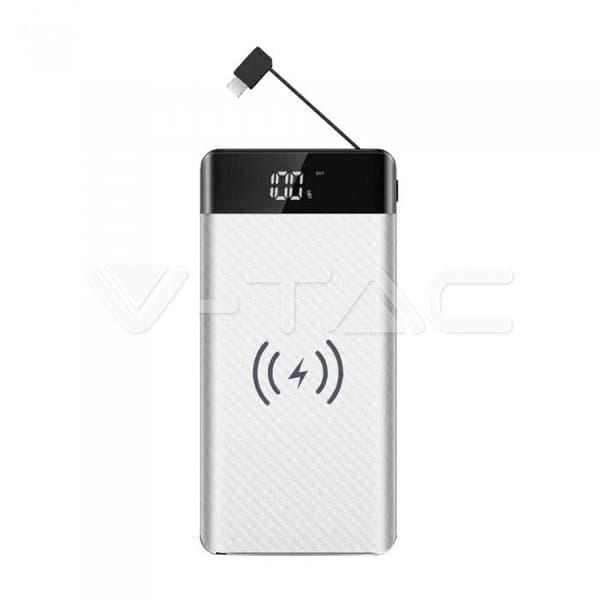 Wireless Power Bank 20000mAh με λευκό σώμα και ενσωματωμένο καλώδιο micro USB Κωδικός: 8860