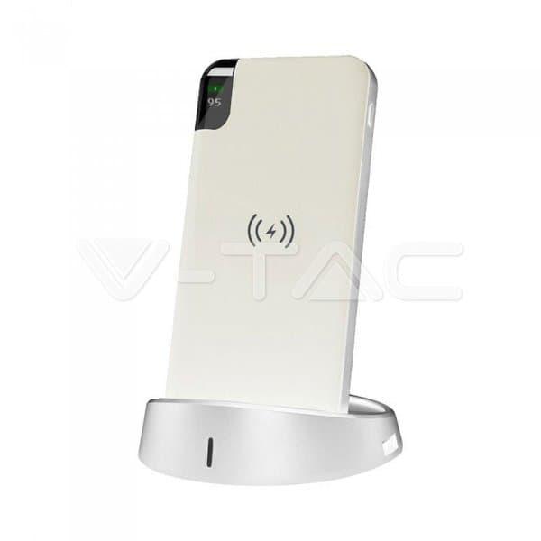 Wireless Power Bank 8000mAh με λευκό σώμα και βάση Κωδικός: 8861