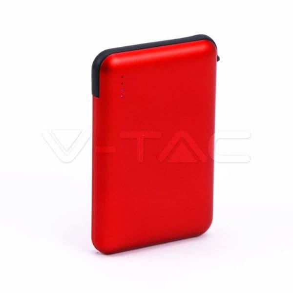 Power Bank 5000mAh με κόκκινο σώμα με ενσωματωμένο μαύρο καλώδιο Κωδικός: 8866