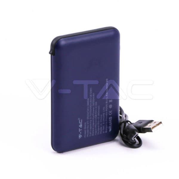 Power Bank 5000mAh με μπλε σώμα με ενσωματωμένο μαύρο καλώδιο Κωδικός: 8868