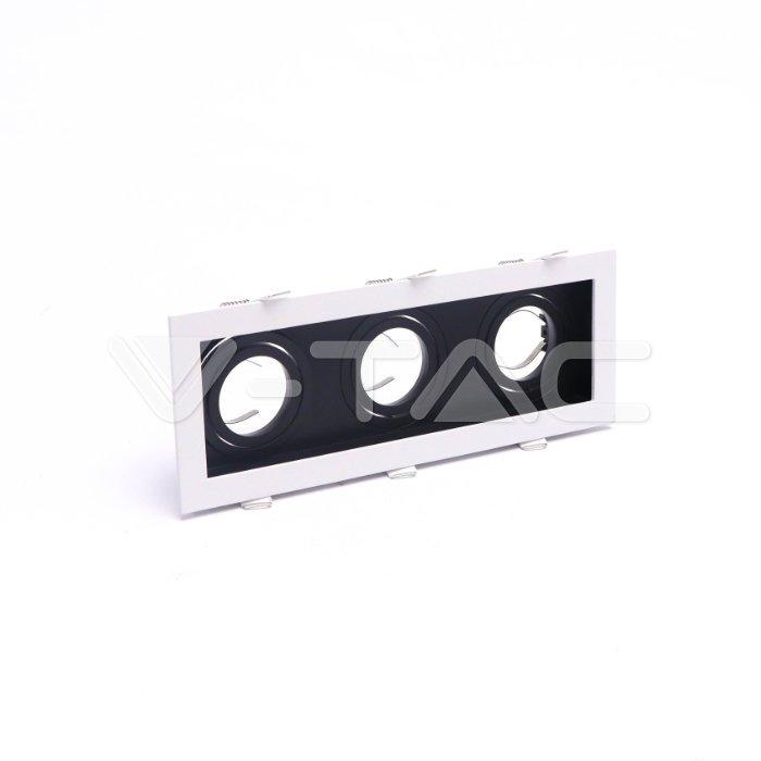 Χωνευτή βάση 3 x GU10 με λευκό πλαίσιο και μαύρο σώμα Κωδικός: 8878