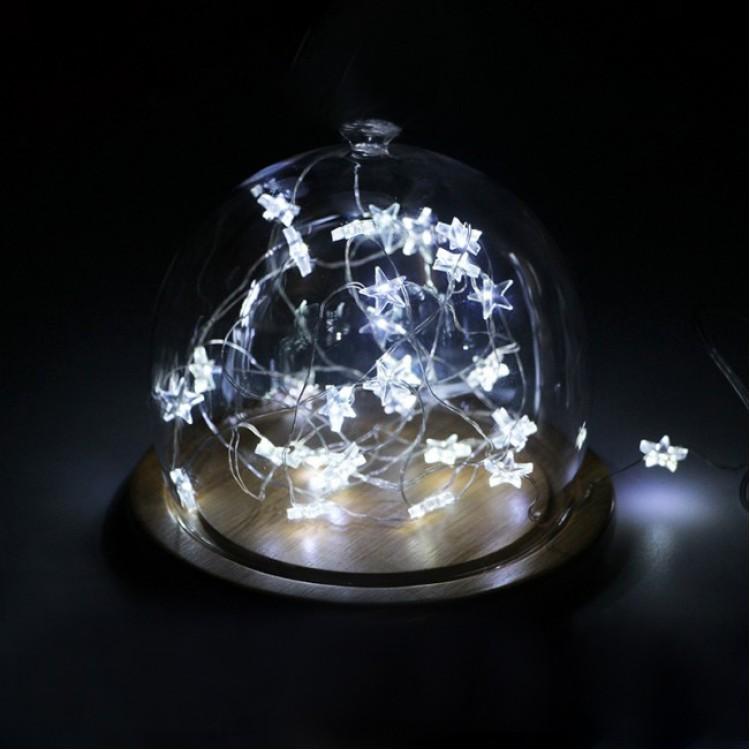 Διακοσμητικά Φωτάκια Χαλκού 2.5m Μπαταρίας με Αστέρι σε Ψυχρό Λευκό Φως 50LED - Decolight  90-05-POL150