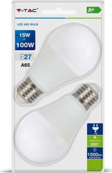 Λάμπα LED E27 A65 SMD 15W Θερμό λευκό 2700K Λευκό Blister Σετ 2 τμχ κωδικός: 7300