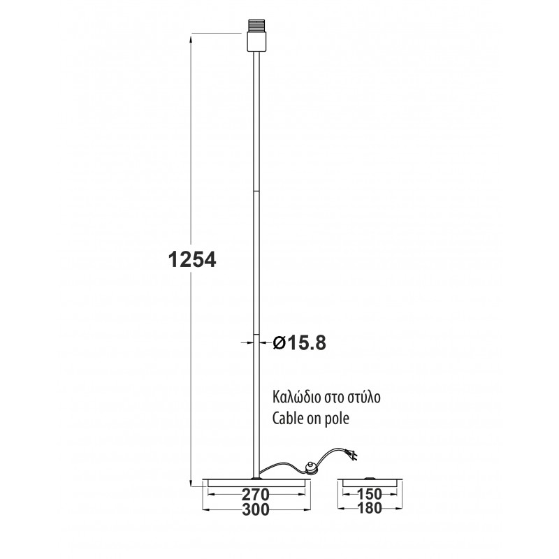 Φωτιστικό Δαπέδου E27 Μεταλλικό Χρωμίου με Ορθογώνια Βάση και Μαύρο Καλώδιο H123cm MF15018CHB - Aca