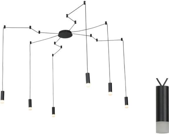 Φωτιστικό Οροφής Teres Κρεμαστό Εξάφωτο Αλουμίνιο Μαύρο 6xG9 YL22C6BK - Aca