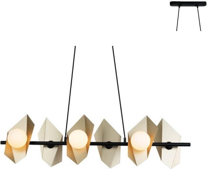 Φωτιστικό Οροφής Polygon Κρεμαστό Εξάφωτο Χρυσό Μέταλλο & Λευκό Γυαλί 6xG9 120x100cm HL42596P100BG - Aca