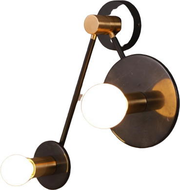 Φωτιστικό Επίτοιχο Απλίκα Clock Δίφωτο Μαύρο Μάρμαρο & Σατινέ Ορείχαλκος 2xE27 OD742W74BM - Aca