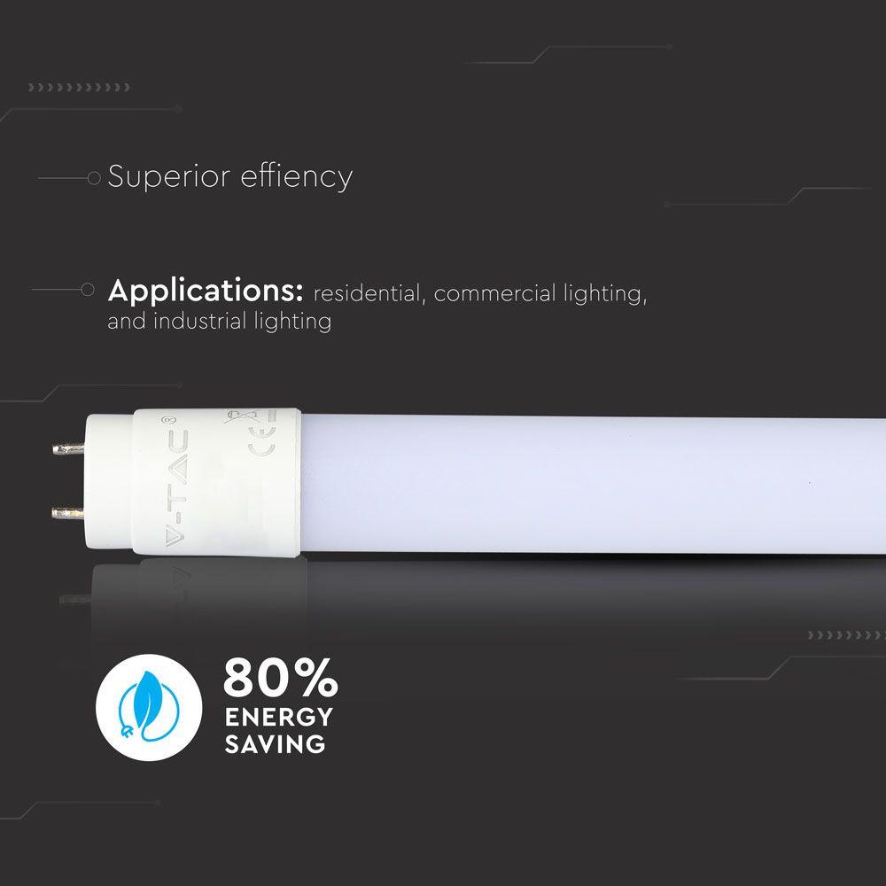 Λάμπα Led G13 T8 SMD Nano-Plastic 10W 850lm Ψυχρό Λευκό 6400Κ Λευκό Σώμα Non-Rotation 60cm 6394 - V-TAC