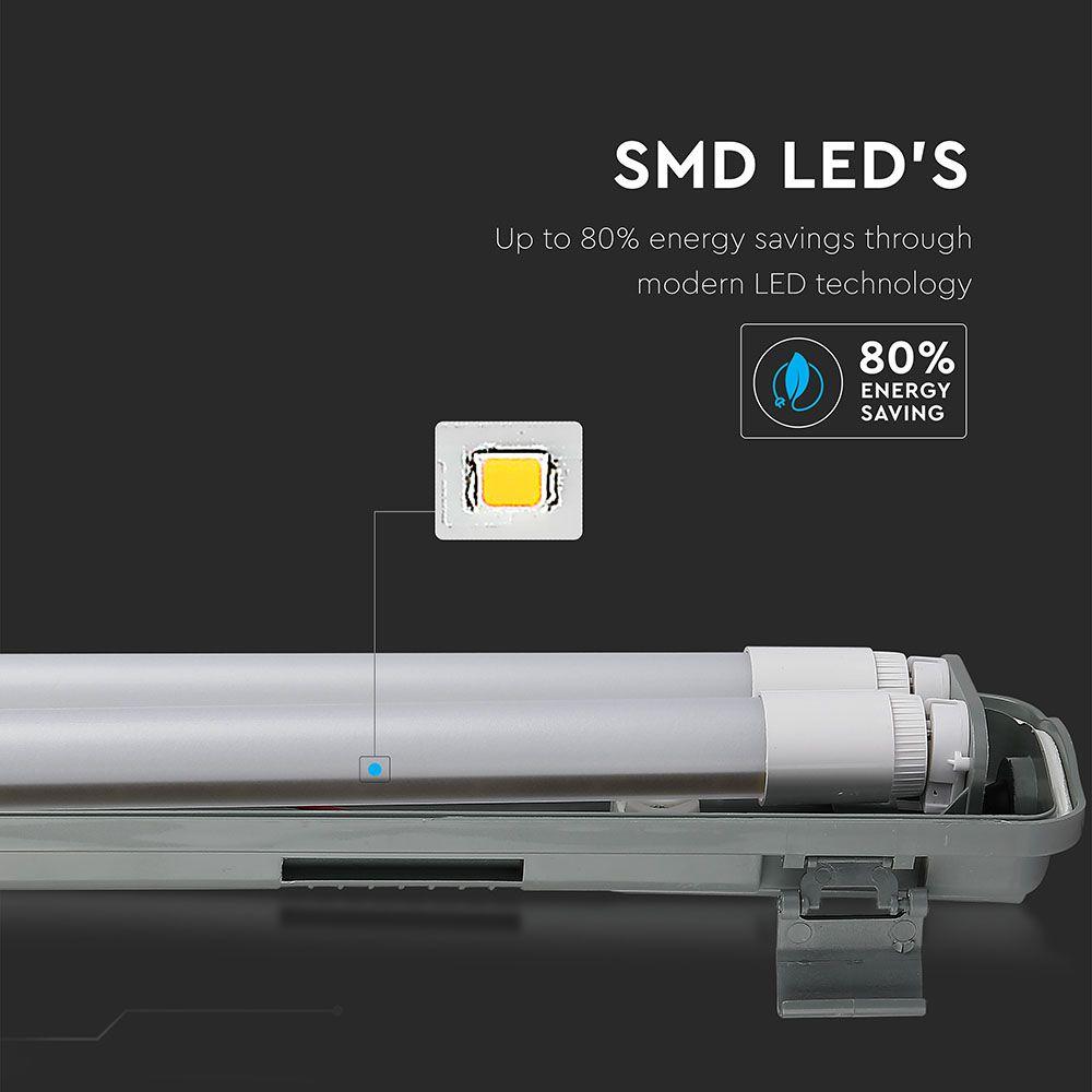Φωτιστικό Σκαφάκι Led Αδιάβροχο 2x18W 3400lm Ψυχρό Λευκό 6400Κ IP65 120cm 6399 - V-TAC