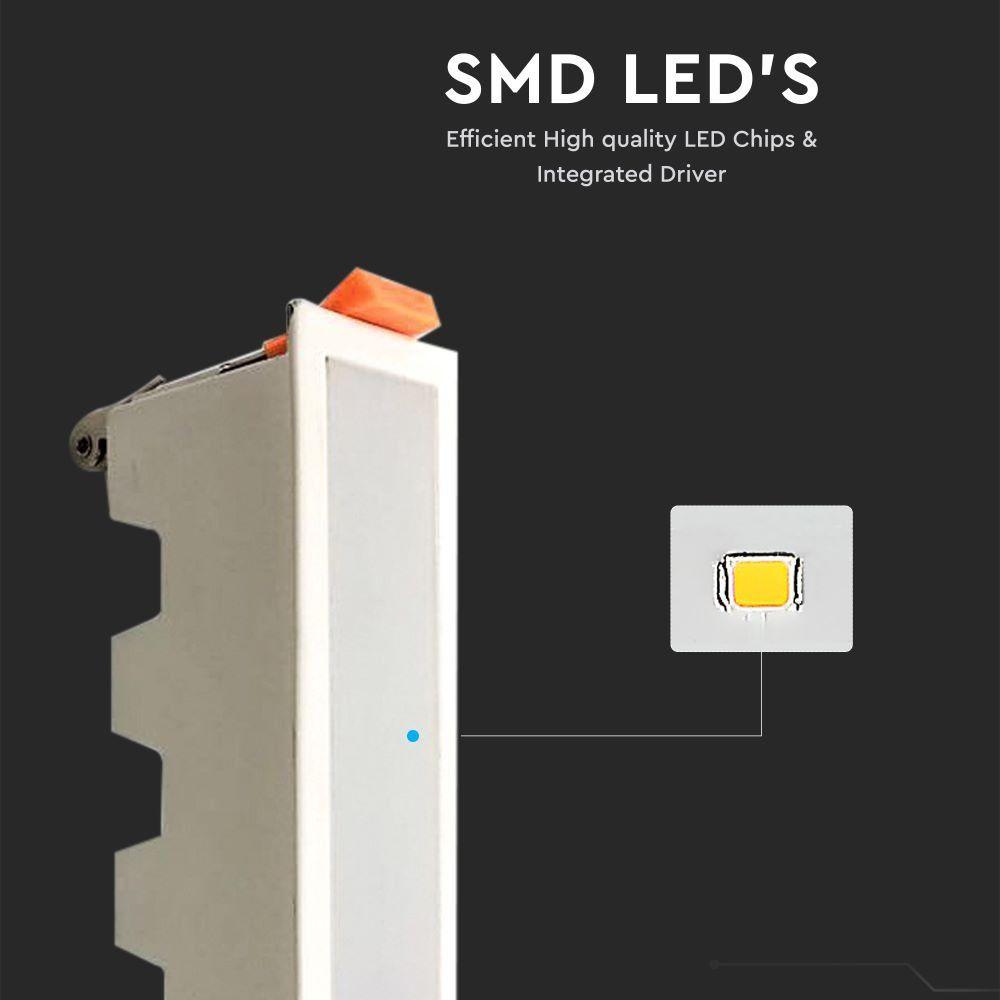 Led Panel Χωνευτό Γραμμικό Flat 10W 750lm Θερμό Λευκό 3000Κ Λευκό Σώμα 16cm 6401 - V-TAC