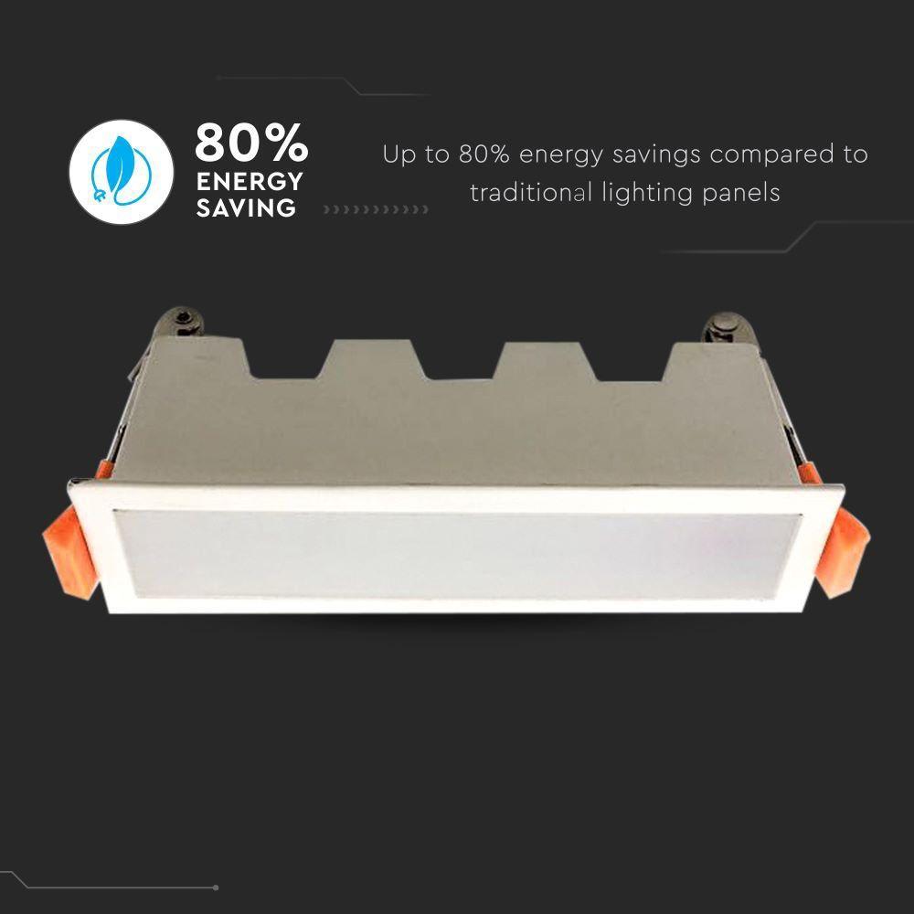 Led Panel Χωνευτό Γραμμικό Flat 10W 750lm Ψυχρό Λευκό 6400Κ Λευκό Σώμα 16cm 6403 - V-TAC