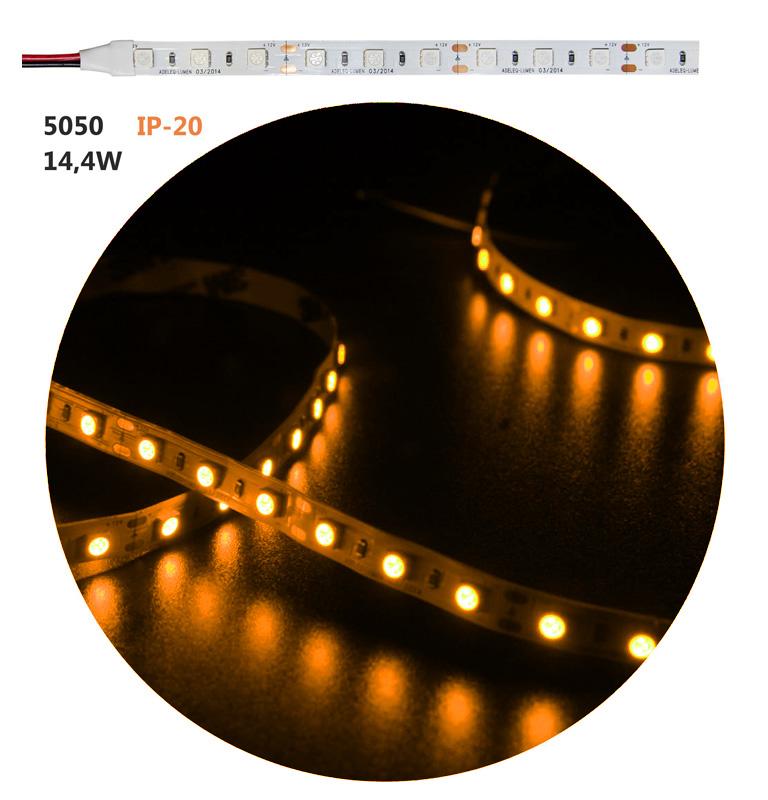 Led ταινία εύκαμπτη αυτοκόλλητη 12vdc 14.4 watt/m 60 led5050/m μή στεγανή ip20 κίτρινο-πορτοκαλί