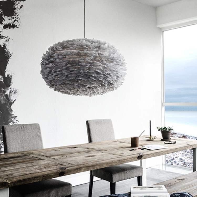 Φωτιστικό Οροφής - Δαπέδου με Πούπουλο EOS XL Light Grey E27 Γκρι Φ75x45cm 2086 - UMAGE