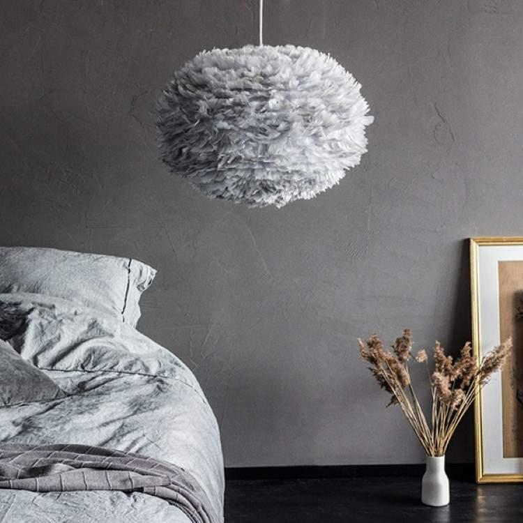 Φωτιστικό Οροφής - Δαπέδου με Πούπουλο EOS Large Light Grey E27 Γκρι Φ65x40cm 2090 - UMAGE