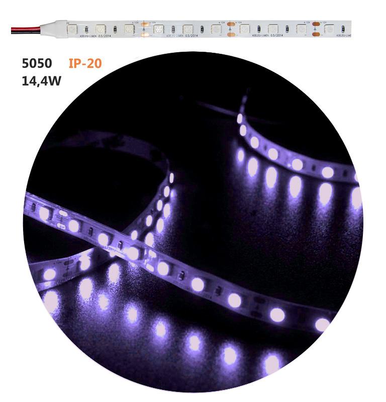 Led ταινία εύκαμπτη αυτοκόλλητη 12vdc 14.4 watt/m 60 led5050/m μή στεγανή ip20 πολύχρωμη RGB εναλλαγής χρωμάτων