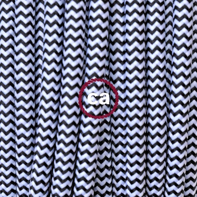 Υφασμάτινο καλώδιο marine stripes άσπρο-μαύρο 2 Χ 0.75 στρογγυλό ιταλίας