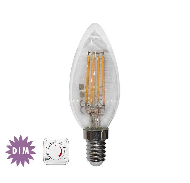 Διακοσμητική λάμπα led cog κεράκι διάφανο E14 4watt 230v θερμό λευκό 2700Κ 400lumen Ντιμαριζόμενη δέσμης 360°