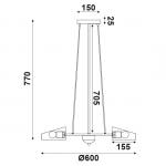 Φωτιστικό οροφής πεντάφωτο μαύρο-χαλκός aca-decor 2018 600mm με ντουί ε27 Κωδικός : EG166125PBC